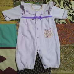 baby花刺繍 ラベンダー カバーオール 50〜60�p