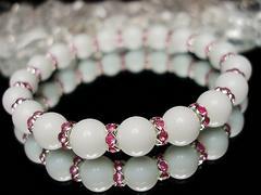 天然石可愛いホワイトオニキス/ピンクロンデル8ミリブレス