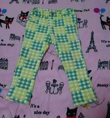 ◆美品◆ムージョンジョン ロングパンツ 90cm 黄緑×緑