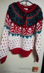 新品 素敵なセーターL 赤系