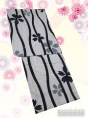 【和の志】女性用綿麻浴衣◇Fサイズ◇グレー系・立涌◇MAF-49