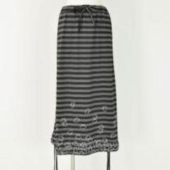 定形外込*mintNeko*ネコ&ボーダー柄変形ロングスカート*黒