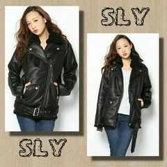 新品 SLY/スライ フェイクムートンライダースジャケット