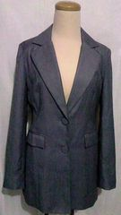 DURASシングルクルミボタン&ロングテーラードジャケット薄手スプリンググレー F