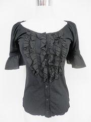 moussyボタンシャツ黒3WAY袖フリルカットソー