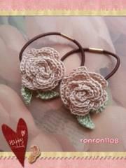 ハンドメイド/手編み♪レース編みお花のヘアゴム2個セット 562
