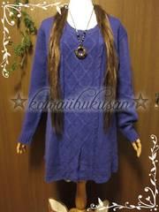 B19 美品 [3L〜4L] Purpleゆるニットワンピ*大きいサイズ