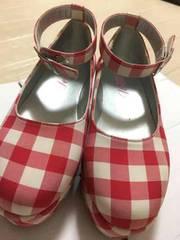 送料込み★チェック靴サイズ22