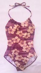 サンエオリジンリアルハイビスカスフラワー花柄&セピア風ホルターリボンワンピース水着茶色