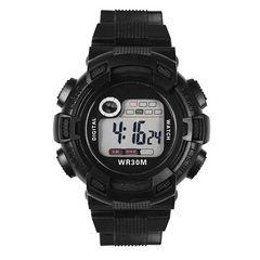 【送料無料】バックライト7色★HONHXジタル腕時計★日常防水/黒