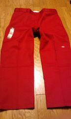 Dickiesディッキーズ ワークパンツ レッド赤 サイズW44×32 ダブルニー 114cm