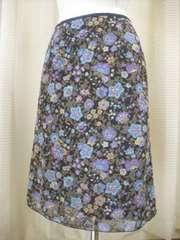 ★パープルプリントのシフォンAラインスカートです
