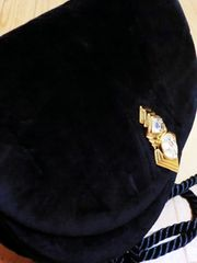 ジバンシー/GIVENCHY S ビジュー付きべロアショルダーバッグ黒