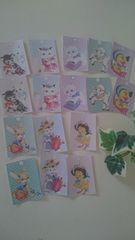 レトロアニマルシール 8種類16枚  ラッピングや梱包に ネコ、ウサギ、ヒツジ、アヒル