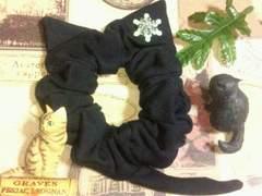 ハンドメイド*・゚雪の結晶飾り♪黒猫モチーフシュシュ猫耳&しっぽ/ネコ