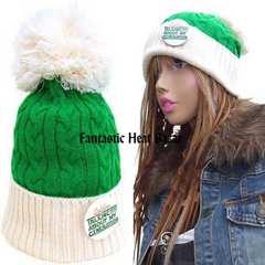 帽子♪バッチ付BIGボンボンワッチ*グリーン/ホワイト*ニット帽*