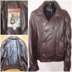 格安革ジャン高級イタリア製柔らか皮レザージャケット美品48冬暖