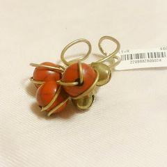 インド製*赤色ビーズ&鈴モチーフリング*新品未使用フリーサイズ