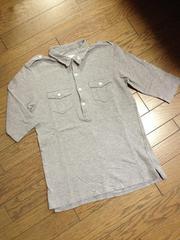美品TAKEO KIKUCHI デザイン7分丈ポロシャツ タケオキクチ