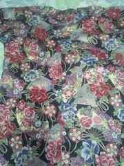 ☆新柄黒×金彩花大扇子牡丹和柄ダボシャツL