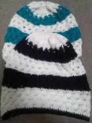 綿かぎ針帽子2点セットあり!黒白&ブルー白ボーダー可愛い軽い