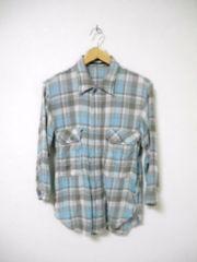 □アメリカンラグシー 麻混 サイドポケット付き 7分袖 シャツ/メンズ/S(1)