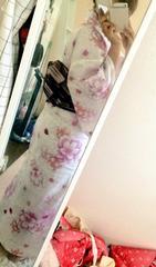 白地ピンク花柄浴衣