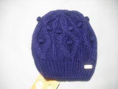 wb693 ROXY ロキシー ニット帽 ビーニー 紫