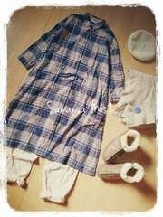‡Samansa Mos2‡冬の服ウール混ゆったりチェックシャツワンピース美品パープル