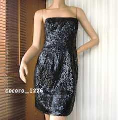 BCBG MAXAZRIA☆総スパンコール ベアワンピース 6 黒 フォーマル ドレス