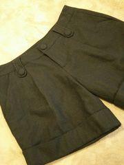 ウール40★キュロットスカートショートパンツ黒ブラックM-L64