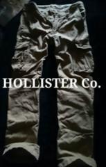 【Hollister】Vintage Destroyed ミリタリーカーゴパンツ 32/Khaki