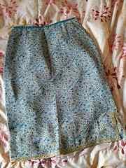 柔らかいシフォンスカート☆涼しげ♪花柄 ブルー系&裾ゴールド 61
