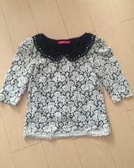 ピンキーガールズ レース 柄 カットソー 薔薇 花柄 襟 衿 7分袖