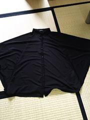 ブラックシフォンドルマンスリーブシャツ