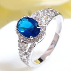 18KRGPプラチナ高級CZブルー彩石上品リング yu967e