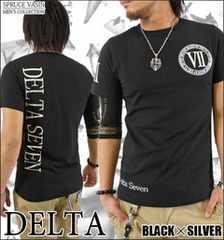 メール便送料無料【DELTA】Tシャツ70624新品黒銀XL