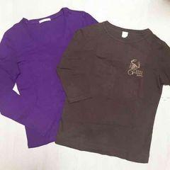 【used】長袖・7部袖Tシャツ2枚セット/アースカラー/L/紫/茶色