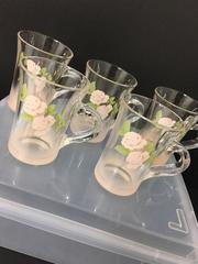 4305 arcoroc フランス ガラスカップ 5個薔薇