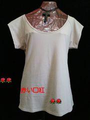 6Lサイズ〜*サラコンフォートロング丈・衿ぐり大きめ・フレンチ袖インナーベージュ