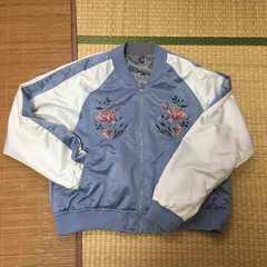 3Lサイズ・花刺繍リバーシブルスカジャン&ブルゾン。ブルー