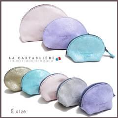 LA CARTABLIEREフランス製きらきらスエード 半円ポーチ#Sヘ