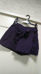 1万円品L ★ETHIQUE 濃いめ紫パープルキュロットショートパンツ