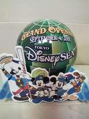 貴重ディズニー シー グランドオープン当時モノ プレート台付き球体オブジェ
