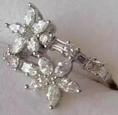 指輪 ダイヤモンド18WG #7 鑑別書付 エンゲージリング