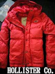 【Hollister】Vintage Hooded フード付き ダウンジャケット L/Red