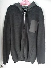 BURBERRY BLACK LABELグレーニットパーカー羊毛100%灰色Lサイズ 3 即決