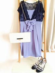 新品マルイ*紺レースボレロ切替ドレス*結婚式リボン日本製M