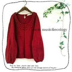 ((earth music&ecology/アース))未使用♪ビーズ付フラワー編み装飾ウールニット