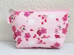 和柄ファスナーポーチ(お化粧・コスメ・小物入れ)桜楓うさぎ薄ピンク